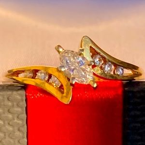 14K Diamond Center Marquise Bypass Ring